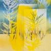 VERKOCHT Koolzaadrij (2016) borduurgaren, koolzaadpeulen, drukinkt en acrylverf op MDF, 40 x 35 cm