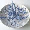 Blauwe viskom (2012) papier en ijzerdraad op keramiek, doorsnede 36 cm (particuliere collectie).