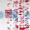 Rode School (2020-2021) installatie met muurschildering, papierstructuren, monoprints en keramische objecten