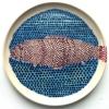 Haring (2012) schildering op keramiek, Ø 16 cm (particuliere collectie)