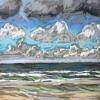 Wolken bij De Koog (31 VII 2019) pastel op papier, 15 x 15 cm (lijst 20 x 20 cm)