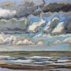 Lucht bij De Koog (31 VII 2019) pastel op papier, 15 x 15 cm (lijst 20 x 20 cm)