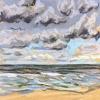 Wolken bij De Koog (03 VIII 2019) pastel op papier, 15 x 15 cm (lijst 20 x 20 cm)