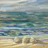 Strand bij De Koog (05 VIII 2019) pastel op papier, 15 x 15 cm (lijst 20 x 20 cm)