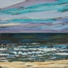 Zee bij De Koog (22 VIII 2019) pastel op papier, 15 x 15 cm (lijst 20 x 20 cm)