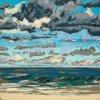 Noordzee bij De Koog (11 VII 2020) pastel op papier, 15 x 15 cm (lijst 20 x 20 cm)