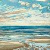 Noordzee bij De Koog (12 VIII 2020) pastel op papier, 15 x 15 cm (lijst 20 x 20 cm)