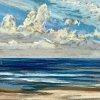 Noordzee bij De Koog (19 VIII 2020) pastel op papier, 15 x 15 cm (lijst 20 x 20 cm)
