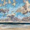 Noordzee bij De Koog (22 VIII 2020) pastel op papier, 15 x 15 cm (lijst 20 x 20 cm)