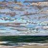 Noordzee bij De Koog (04 IX 2020) pastel op papier, 15 x 15 cm (lijst 20 x 20 cm)