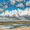 Noordzee bij De Koog (05 IX 2020) pastel op papier, 15 x 15 cm (lijst 20 x 20 cm)