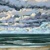 Noordzee bij De Koog (10 IX 2020) pastel op papier, 15 x 15 cm (lijst 20 x 20 cm)
