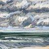 Noordzee bij De Koog (12 IX 2020) pastel op papier, 15 x 15 cm (lijst 20 x 20 cm)