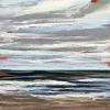 Noordzee bij De Koog (23 VI 2021) pastel op papier, 15 x 15 cm (lijst 20 x 20 cm)