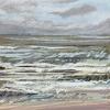 Noordzee bij De Koog (26 VI 2021) pastel op papier, 15 x 15 cm (lijst 20 x 20 cm)