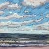 Noordzee bij De Koog (27 VI 2021) pastel op papier, 15 x 15 cm (lijst 20 x 20 cm)