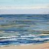 Noordzee bij De Koog (17 VII 2021) pastel op papier, 15 x 15 cm (lijst 20 x 20 cm)