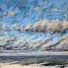 Noordzee bij De Koog (28 VII 2021) pastel op papier, 15 x 15 cm (lijst 20 x 20 cm)