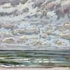 Noordzee bij De Koog (30 VII 2021) pastel op papier, 15 x 15 cm (lijst 20 x 20 cm)