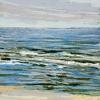 Noordzee bij De Koog (05 VIII 2021) pastel op papier, 15 x 15 cm (lijst 20 x 20 cm)