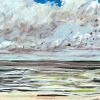 Noordzee bij De Koog (16 VII 2021) pastel, 23 x 70 cm.