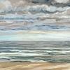 Noordzee bij De Koog (23 VII 2021) pastel, 23 x 70 cm.