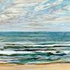 Noordzee bij De Koog (24 VII 2021) pastel, 23 x 70 cm.