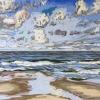 Strand bij De Koog (16 VIII 2019) pastel op papier, 24 x 32 cm (lijst 30 x 40 cm)