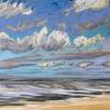 Strand bij De Koog (17 VIII 2019) pastel op papier, 24 x 32 cm (lijst 30 x 40 cm)