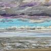 Strand bij De Koog (18 VIII 2019) pastel op papier, 24 x 32 cm (lijst 30 x 40 cm)