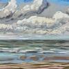 Strand bij De Koog (15 VII 2019) pastel op papier, 24 x 32 cm (lijst 30 x 40 cm)