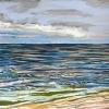Strand bij De Koog (18 VII 2019) pastel op papier, 24 x 32 cm (lijst 30 x 40 cm)