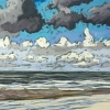 Strand bij De Koog (31 VII 2019) pastel op papier, 24 x 32 cm (lijst 30 x 40 cm)
