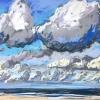 Strand bij De Koog (01 VIII 2019) pastel op papier, 24 x 32 cm (lijst 30 x 40 cm)