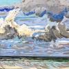 Strand bij De Koog (02 VIII 2019) pastel op papier, 24 x 32 cm (lijst 30 x 40 cm)