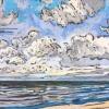 Strand bij De Koog (03 VIII 2019) pastel op papier, 24 x 32 cm (lijst 30 x 40 cm)