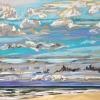 Strand bij De Koog (05 VIII 2019) pastel op papier, 24 x 32 cm (lijst 30 x 40 cm)