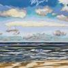 Strand bij De Koog (12 VIII 2019) pastel op papier, 24 x 32 cm (lijst 30 x 40 cm)