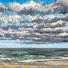 Noordzee bij De Koog (10 IX 2020) pastel op papier, 24 x 32 cm (lijst 30 x 40 cm)