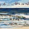 Noordzee bij De Koog (23 VI 2021) pastel op papier, 24 x 32 cm (lijst 30 x 40 cm)