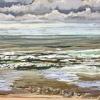 Noordzee bij De Koog (26 VI 2021) pastel op papier, 24 x 32 cm (lijst 30 x 40 cm)