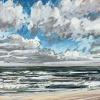 Noordzee bij De Koog (16 VII 2021) pastel op papier, 24 x 32 cm (lijst 30 x 40 cm)