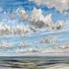Noordzee bij De Koog (30 VII 2021) pastel op papier, 24 x 32 cm (lijst 30 x 40 cm)