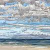 Noordzee bij De Koog (25 VIII 2021) pastel op papier, 24 x 32 cm (lijst 30 x 40 cm)