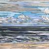 Strand bij De Koog 15 IX 2018 pastel, 32 x 49 cm in een lijst 47 x 64 cm